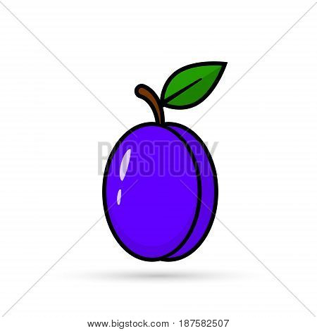 Plum with leaves icon vector isolated Plum color symbol.