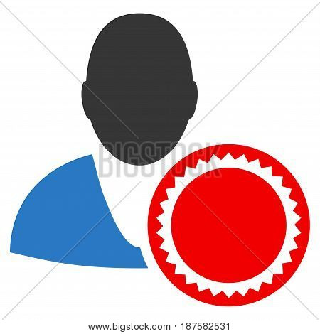 Stamped User flat vector icon. An isolated illustration on a white background.