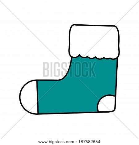 color silhouette image of ornament christmas boot vector illustration