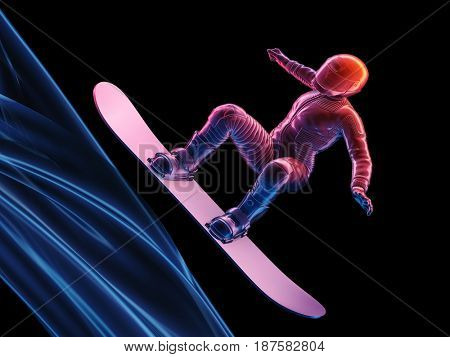 Graphical representation of a snowboarder on a black background.,3d render