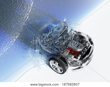 The car leaves the water.,3d render