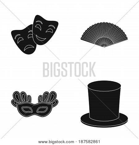 Theatrical mask, cylinder, fan, mask on the eyes. Theater set collection icons in black style vector symbol stock illustration .