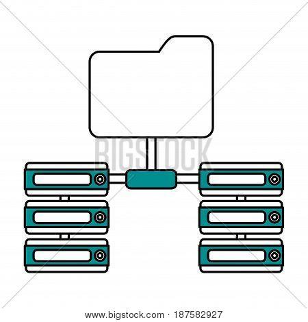color silhouette image of server network and sharing folder vector illustration