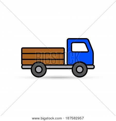 Truck color icon vector isolated delivery transport symbol.