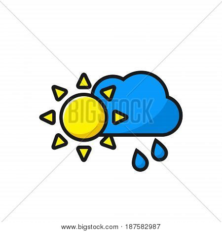 Weather icon sun with clouds and rain icon vector illustration.