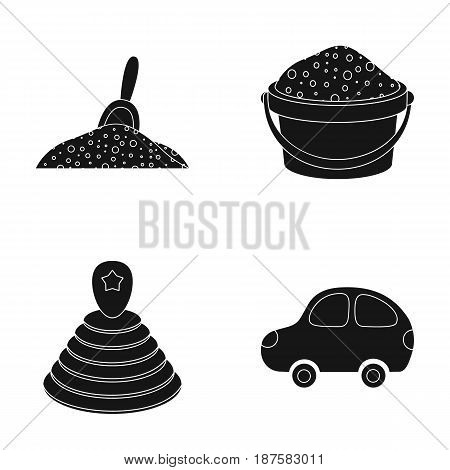 A red scoop in the sand, a green bucket with sand, a multi-colored pyramid, a blue toy car. Toys set collection icons in black style vector symbol stock illustration .