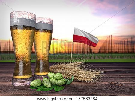 concept of beer consumption in Poland - 3D render
