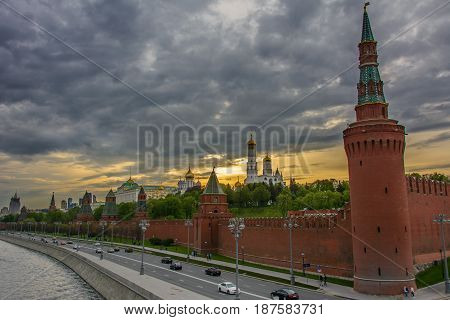 Sunset over Moscow Kremlin - Red Square, Russia