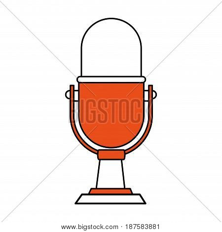 color silhouette image of desk microphone of fixed base vector illustration