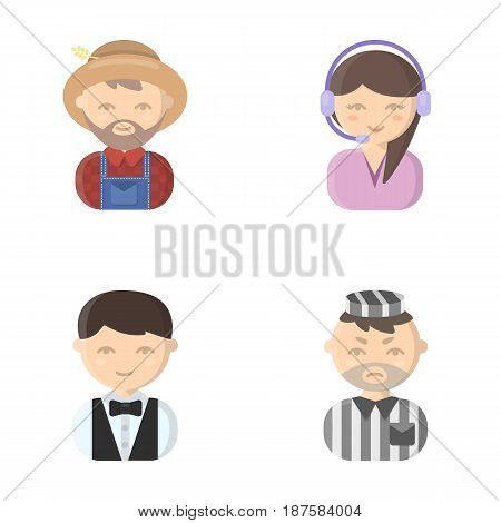 Farmer, operator, waiter, prisoner.Profession set collection icons in cartoon style vector symbol stock illustration .