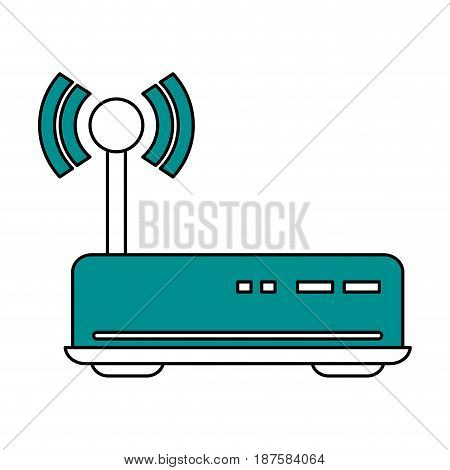 color silhouette image of wireless router vector illustration