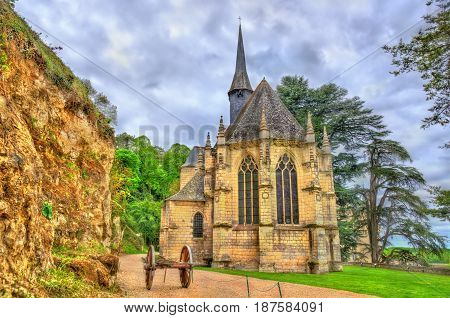 Chapel at the Castle of Usse in the Loire Valley. UNESCO world heritage site in France