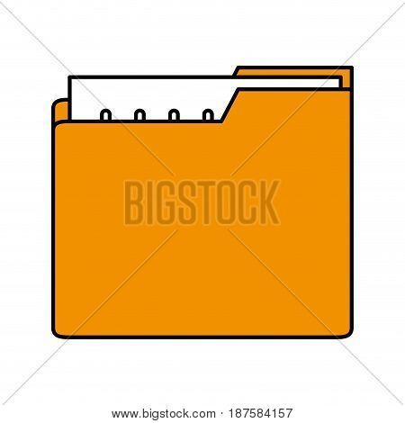 color silhouette image of folder with files sheet vector illustration