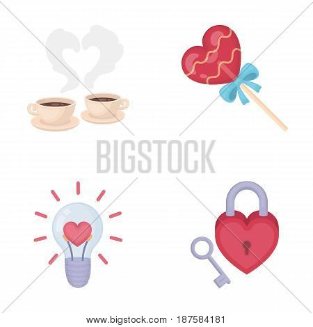 Cups with coffee, valentine, lamp, lock with key. Romantic set collection icons in cartoon style vector symbol stock illustration .
