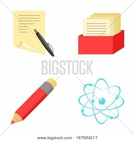 A pen with paper, a catalog in a box, a red pencil, an atom with a core. School set collection icons in cartoon style vector symbol stock illustration .