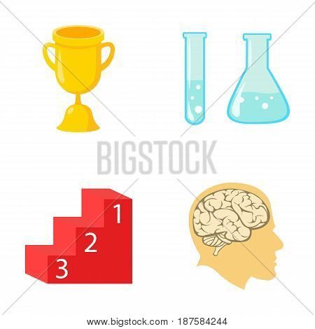 A cup, test tubes with a reagent, a pedestal, a man s head with a brain. School set collection icons in cartoon style vector symbol stock illustration .