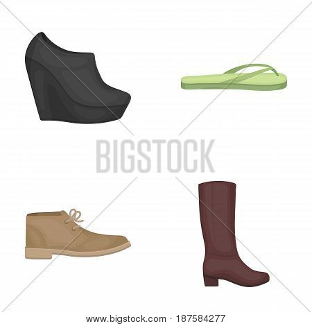 Autumn black shoes on a high platform, flip-flops green for relaxation, sandy men s autumn shoes, high brown boots. Shoes set collection icons in cartoon style vector symbol stock illustration .