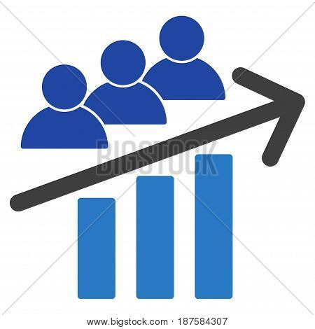 Users Trend Arrow flat vector pictograph. An isolated illustration on a white background.