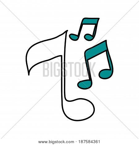 color silhouette image of musical notes vector illustration