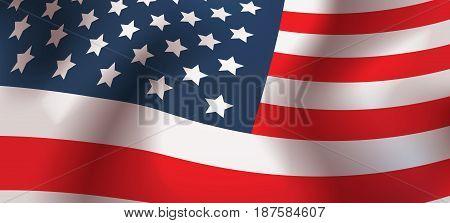 United States Flag Waving Horizontal Banner Vector Illustration