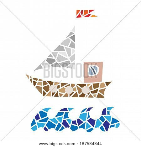 Polygonal style ship isolated on the white background. Design colorful element for logo label emblem sign poster t-shirt print. Vector illustration.