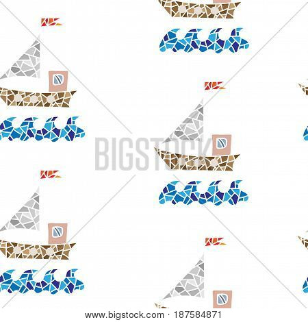 Seamless pattern with polygonal style ship isolated on the white background. Colorful boat vector background for printing on fabric paper for scrapbook gift wrap.