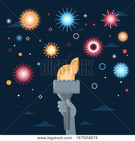 Statue Of Liberty Hand Holding Torch United States Independence Day Holiday 4 July Banner Flat Vector Illustration