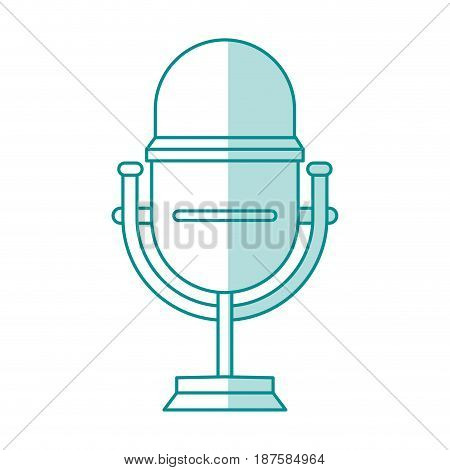 blue shading silhouette of studio microphone vector illustration