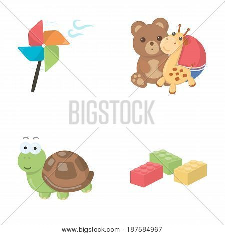 A toy propeller, a teddy bear with a giraffe and a colorful ball, a toy turtle, a lego, a designer for children. Toys set collection icons in cartoon style vector symbol stock illustration .