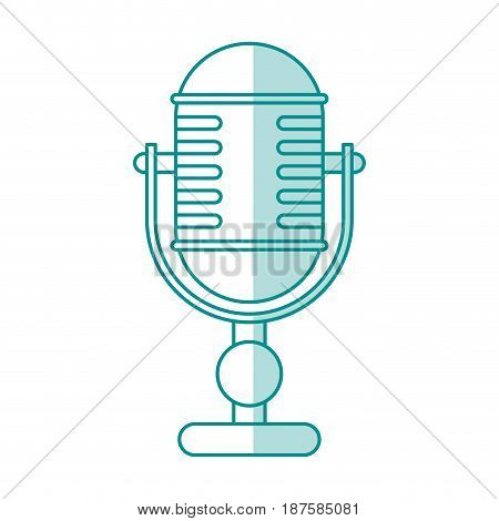blue shading silhouette of desk microphone of adjustable angle vector illustration