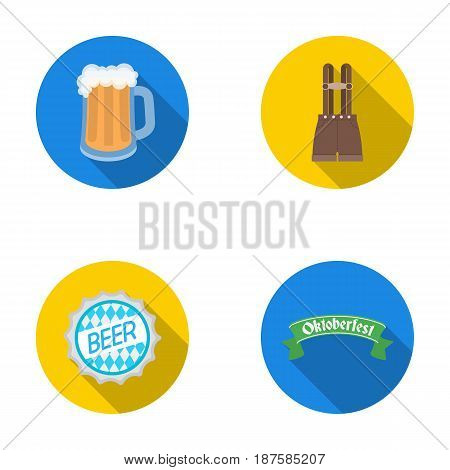 Shorts with suspenders, a glass of beer, a sign, an emblem. Oktoberfestset collection icons in flat style vector symbol stock illustration .