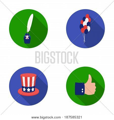 Balloons, inkwell with a pen, Uncle Sam s hat. The patriot s day set collection icons in flat style vector symbol stock illustration .