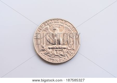 Stock image of weathered 25 cent coin