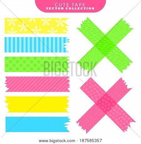 Set of colorful washi tape with variant patterns. Vector illustration