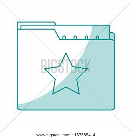 blue shading silhouette of folder with files sheet vector illustration