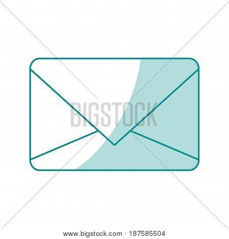 blue shading silhouette of sealed envelope mail vector illustration