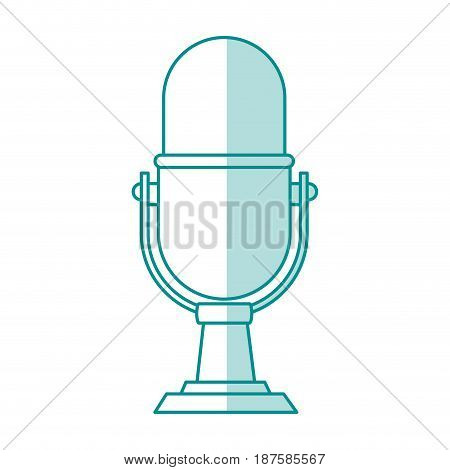 blue shading silhouette of desk microphone of fixed base vector illustration