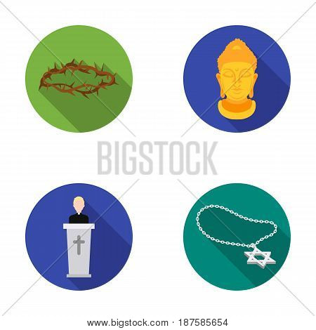 A crown of thorns, a star of David, a priest, a buddha s head. Religion set collection icons in flat style vector symbol stock illustration .