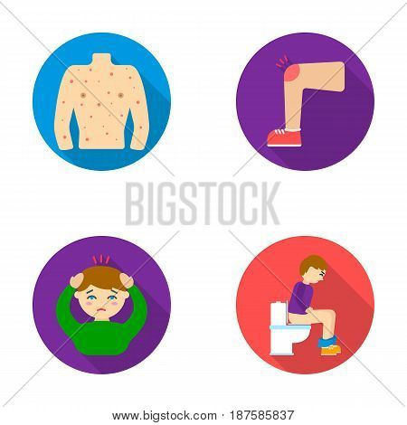 The human body is covered with ulcers, boils, a red rash, a knee of a man with a bruise, a patient with a headache and asterisks, a person sitting on the toilet with stomach disease. Sick set collection icons in flat style vector symbol stock illustration