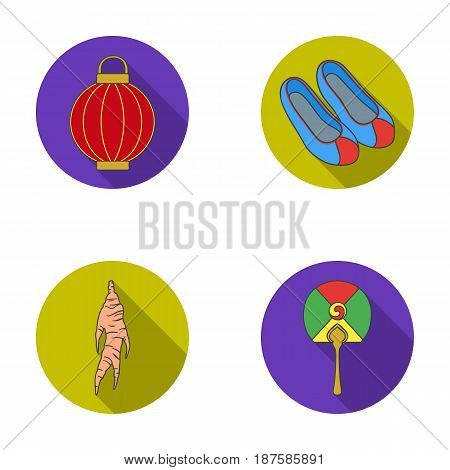 Healing root, Korean flashlight, national shoes, multi-colored fan. South Korea set collection icons in flat style vector symbol stock illustration .
