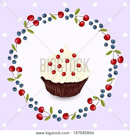 Cupcake with whipped cream. Birthday greeting card or invitation template.