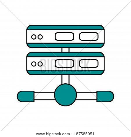 color silhouette image of network server vector illustration