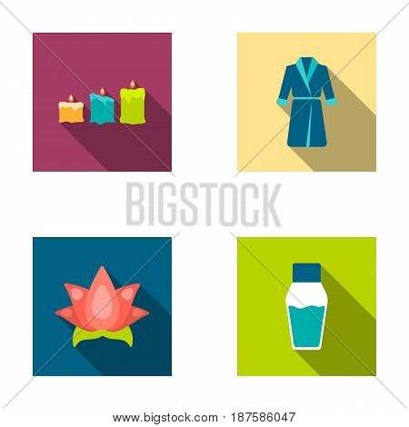 Multicolored candles with a flame, a blue robe with a belt, a lotus flower with petals, a bottle of cream. Spa set collection icons in flat style vector symbol stock illustration .