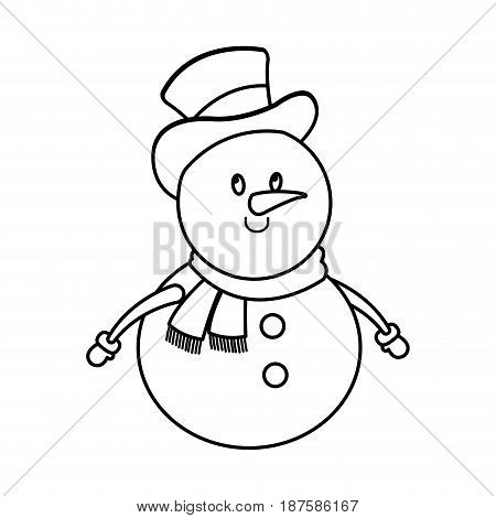 christmas snowman with hat and scarf character decoration vector illustration