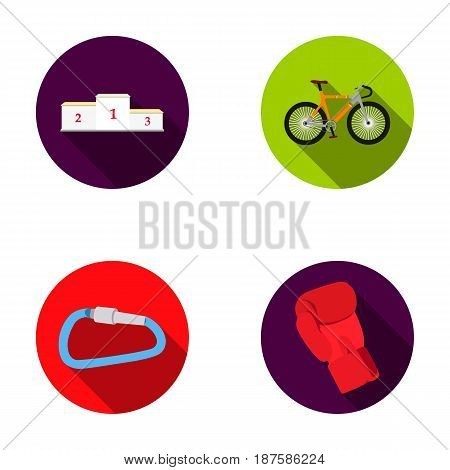 A pedestal of honor for the winners, a bicycle, a lock, a boxer s glove. Sport set collection icons in flat style vector symbol stock illustration .