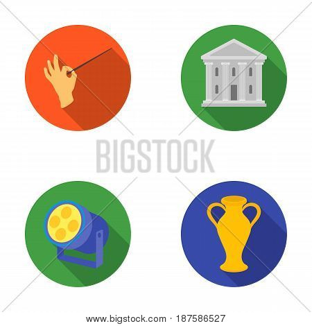 Conductor s baton, theater building, searchlight, amphora.Theatre set collection icons in flat style vector symbol stock illustration .