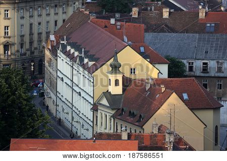 ZAGREB, CROATIA - MAY 31: Aerial view of the rooftops of downtown of Zagreb, Croatia on May 31, 2015.