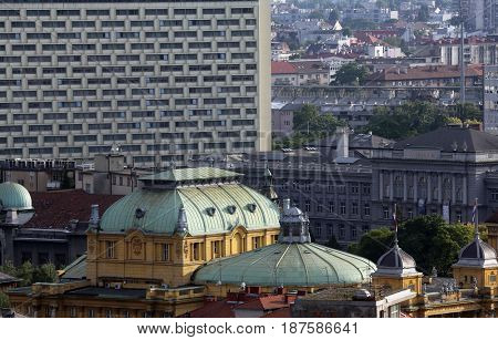 ZAGREB, CROATIA - MAY 31: Historic lower town architecture with building of the Croatian National Theatre in Zagreb, Croatia on May 31, 2015
