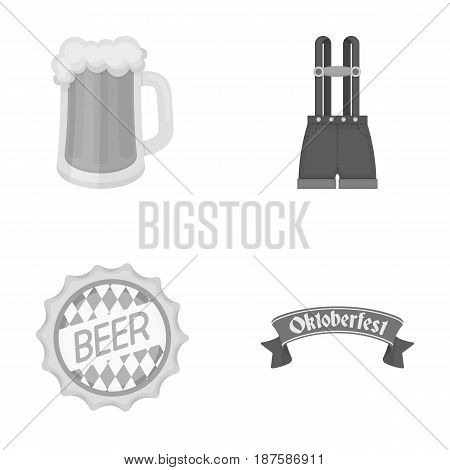 Shorts with suspenders, a glass of beer, a sign, an emblem. Oktoberfestset collection icons in outline style vector symbol stock illustration .