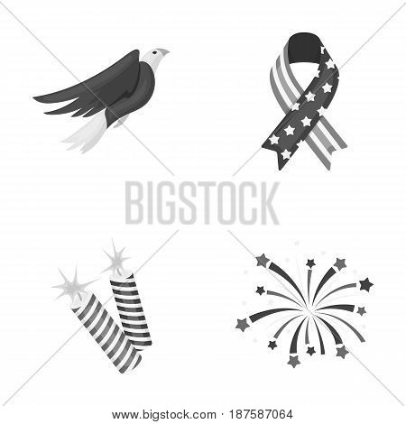 American eagle, ribbon, salute. The patriot s day set collection icons in monochrome style vector symbol stock illustration .